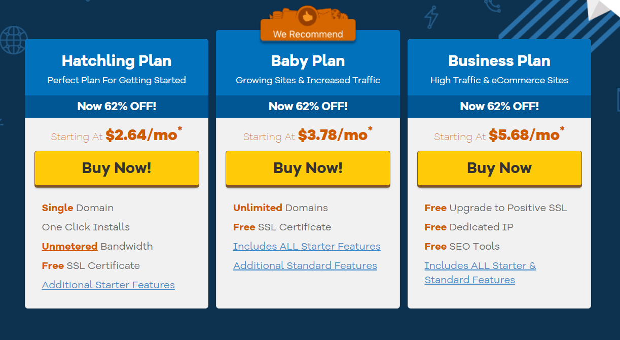 HostGator Pricing Plan
