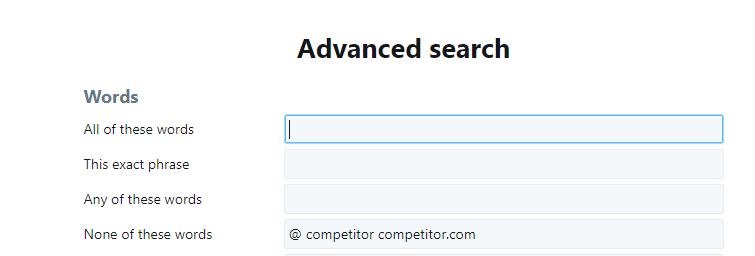 Competitor filter